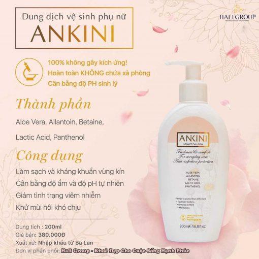 Thành phần và công dụng của Dung dịch vệ sinh Ankini